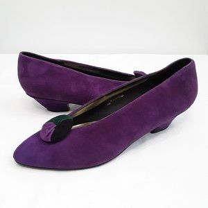 Jessica purple pointy toe button suede kitten heel